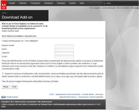 Copia della seconda schermata del sito Adobe