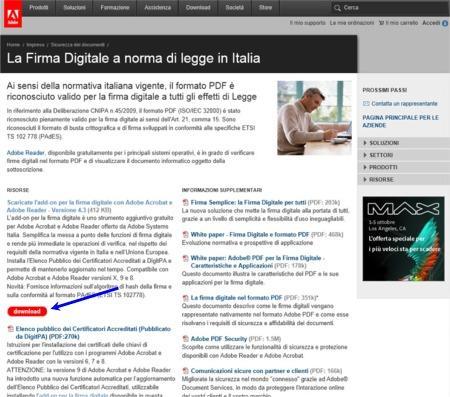 Copia della prima schermata del sito Adobe