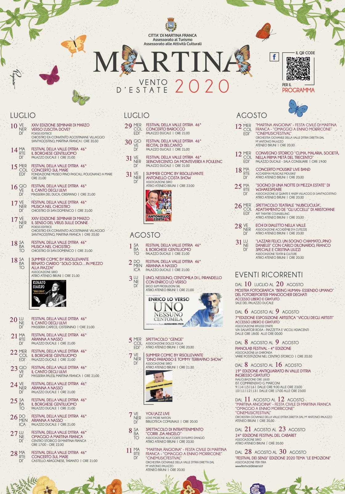 Locandina eventi estate 2020