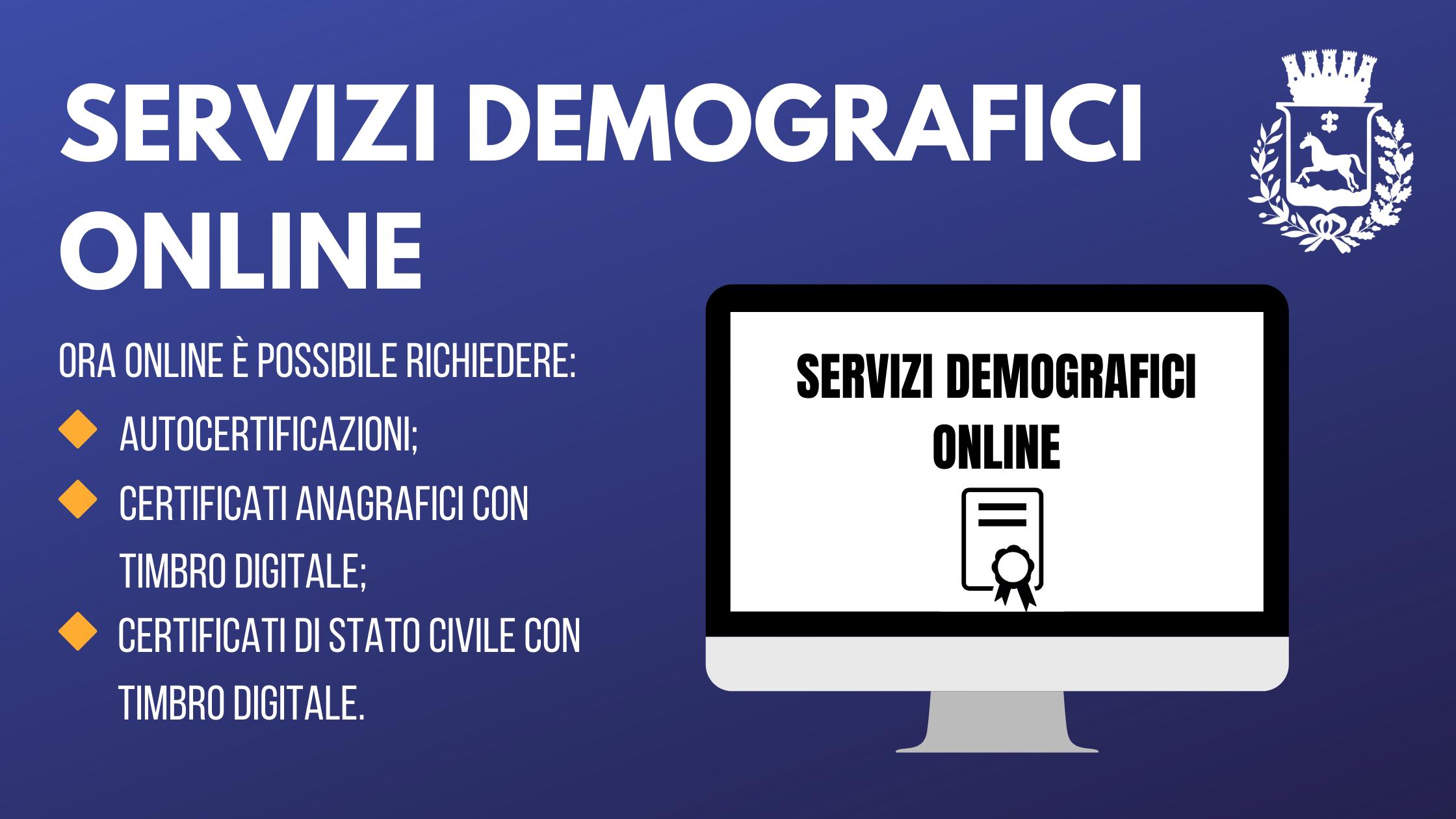 servizi demografici online, elenco dei servizi