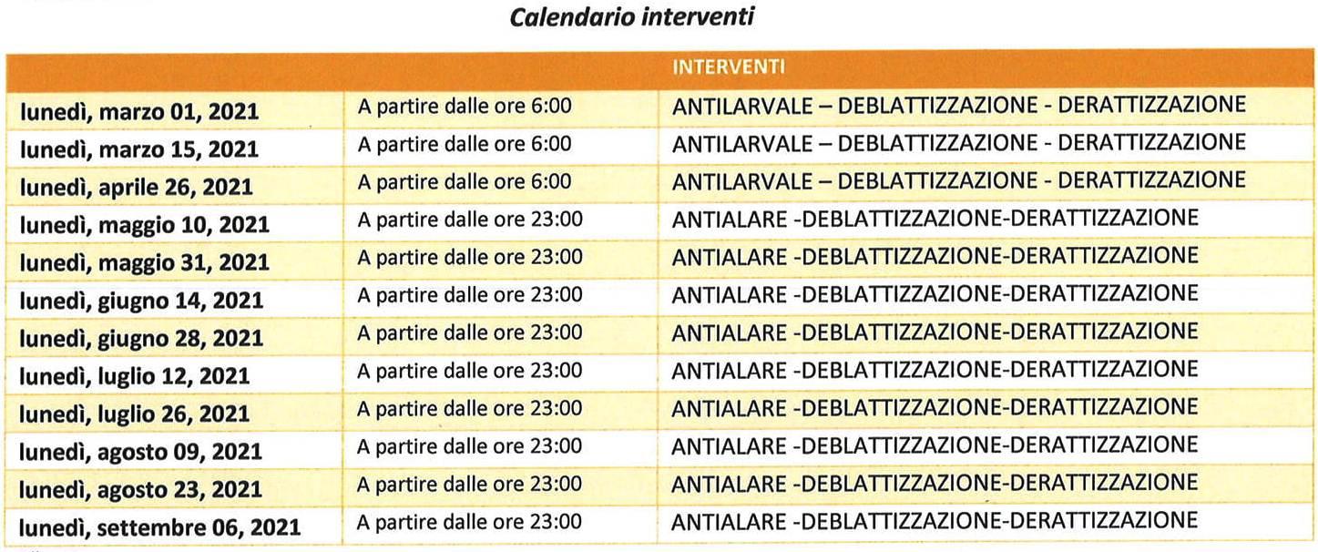 Calendario disinfestazione 2021